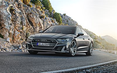 2020, Audi S7 Sportback, 4k, exterior, front view, sports car, new gray S7, German cars, Audi
