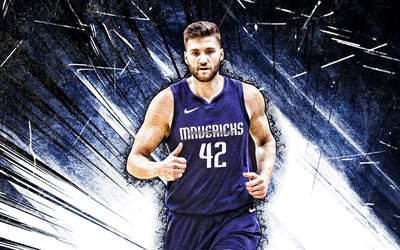 4k, Maxi Kleber, grunge art, Dallas Mavericks, NBA, basketball, Maximilian Kleber, Maxi Kleber Dallas Mavericks, blue abstract rays, Maxi Kleber 4K
