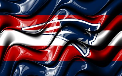New England Patriots flag, 4k, blue an red 3D waves, NFL, american football team, New England Patriots logo, american football, New England Patriots