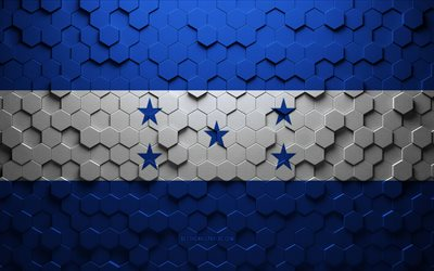 Flag of Honduras, honeycomb art, Honduras hexagons flag, Honduras, 3d hexagons art, Honduras flag