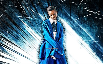 4k, Letitia Wright, grunge art, british actress, beauty, Letitia Michelle Wright, blue abstract rays, british celebrity, Letitia Wright 4K