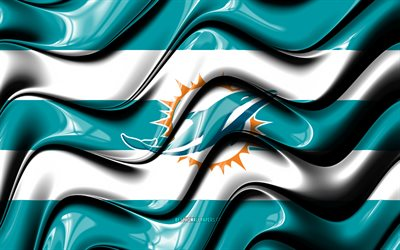 Miami Dolphins flag, 4k, blue and white 3D waves, NFL, american football team, Miami Dolphins logo, american football, Miami Dolphins