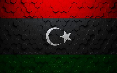 Flag of Libya, honeycomb art, Libya hexagons flag, Libya, 3d hexagons art, Libya flag