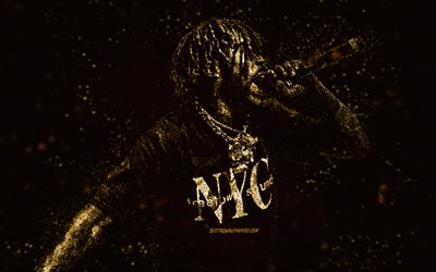 Lil Uzi Vert, gold glitter art, black background, American rapper, Lil Uzi Vert art, Symere Bysil Woods
