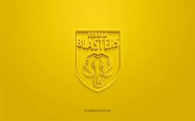Kerala Blasters FC, creative 3D logo, yellow background, 3d emblem, Indian football club, Indian Super League, Kerala, India, 3d art, football, Kerala Blasters FC 3d logo