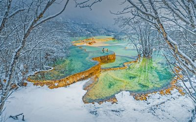 Huanglong, colorful travertine pools, Yellow Dragon Gully, Bonsai Pond, Winter, Huanglong Terraces, Huanglong Scenic and Historic Interest Area, Sichuan, China