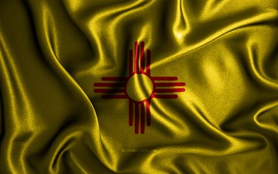 New Mexico flag, 4k, silk wavy flags, american states, USA, Flag of New Mexico, fabric flags, 3D art, New Mexico, United States of America, New Mexico 3D flag, US states