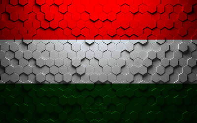 Flag of Hungary, honeycomb art, Hungary hexagons flag, Hungary, 3d hexagons art, Hungary flag