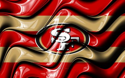 San Francisco 49ers flag, 4k, red and brown 3D waves, NFL, american football team, San Francisco 49ers logo, american football, San Francisco 49ers