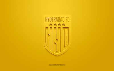 Hyderabad FC, creative 3D logo, yellow background, 3d emblem, Indian football club, Indian Super League, Hyderabad, India, 3d art, football, Hyderabad FC 3d logo