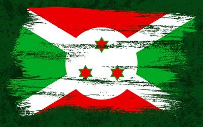 4k, Flag of Burundi, grunge flags, African countries, national symbols, brush stroke, grunge art, Burundi flag, Africa, Burundi