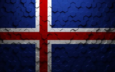 Flag of Iceland, honeycomb art, Iceland hexagons flag, Iceland, 3d hexagons art, Iceland flag