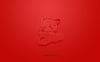 Hiroshima Toyo Carp, creative 3D logo, NPB, red background, 3d emblem, Japanese baseball team, Nippon Professional Baseball, Hiroshima, Japan, 3d art, baseball, Hiroshima Toyo Carp 3d logo