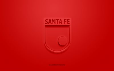 Independiente Santa Fe, creative 3D logo, red background, 3d emblem, Colombian football club, Categoria Primera A, Bogota, Colombia, 3d art, football, Independiente Santa Fe 3d logo