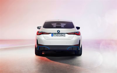 BMW i4, 2022, rear view, exterior, white sedan, electric cars, new white i4 2022, german cars, BMW