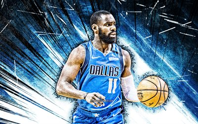 4k, Tim Hardaway, grunge art, Dallas Mavericks, NBA, basketball, Tim Hardaway Jr, USA, Tim Hardaway Dallas Mavericks, blue abstract rays, Tim Hardaway 4K