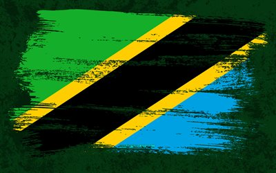 4k, Flag of Tanzania, grunge flags, African countries, national symbols, brush stroke, Tanzanian flag, grunge art, Tanzania flag, Africa, Tanzania