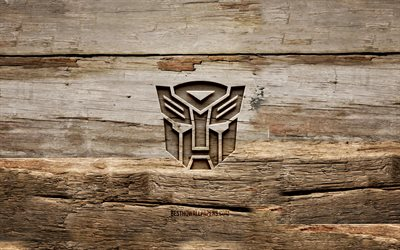 Transformers wooden logo, 4K, wooden backgrounds, Transformers logo, creative, wood carving, Transformers