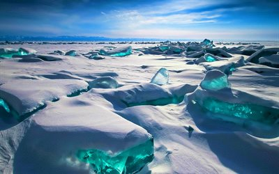 Lake Baikal, winter, glaciers, snowdrifts, mountains, Russia, Siberia, beautiful nature, russian landmarks