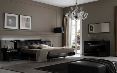 stylish bedroom interior design, classic style, black furniture in the bedroom, brown walls in the bedroom, bedroom in classic style, modern interior design, glass chandelier with candlesticks
