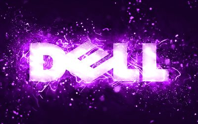 Dell violet logo, 4k, violet neon lights, creative, violet abstract background, Dell logo, brands, Dell