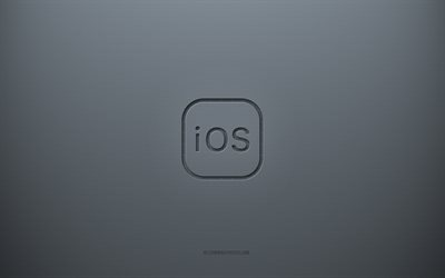 iOS logo, gray creative background, iOS emblem, gray paper texture, iOS, gray background, iOS 3d logo