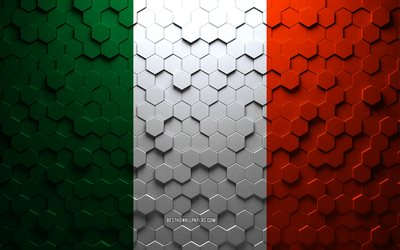 Flag of Ireland, honeycomb art, Ireland hexagons flag, Ireland, 3d hexagons art, Ireland flag