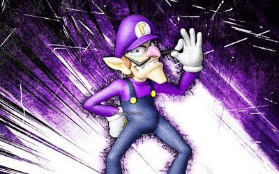 4k, Waluigi, grunge art, Super Mario, cartoon plumber, violet abstract rays, Super Mario characters, Super Mario Bros, Waluigi Super Mario