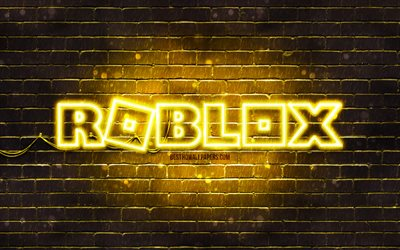 Roblox yellow logo, 4k, yellow brickwall, Roblox logo, online games, Roblox neon logo, Roblox
