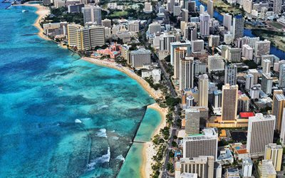 Honolulu, view from above, Beach, Pacific Ocean, Honolulu aerial view, Honolulu cityscape, Hawaii, USA