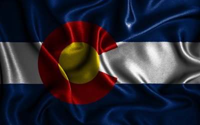 Colorado flag, 4k, silk wavy flags, american states, USA, Flag of Colorado, fabric flags, 3D art, Colorado, United States of America, Colorado 3D flag, US states
