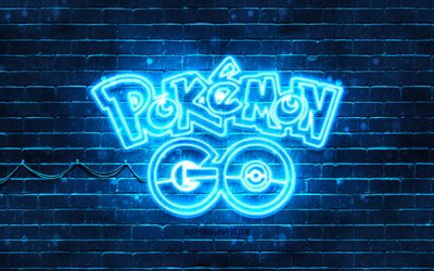 Pokemon Go blue emblem, 4k, blue brickwall, Pokemon Go emblem, games brands, Pokemon Go neon emblem, Pokemon Go