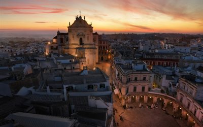 Martina Franca, Basilica di San Martino, evening, sunset, landmark, old town, Taranto, Italy