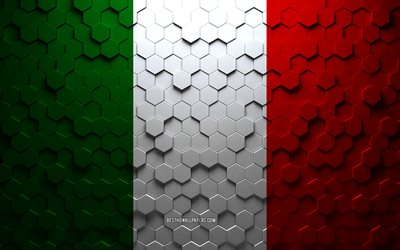 Flag of Italy, honeycomb art, Italy hexagons flag, Italy, 3d hexagons art, Italy flag