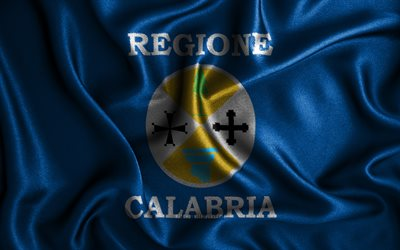Calabria flag, 4k, silk wavy flags, Italian regions, Flag of Calabria, fabric flags, 3D art, Calabria, Regions of Italy, Calabria 3D flag
