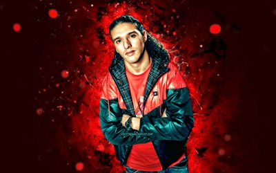 Ali B, 4k, red neon lights, dutch rapper, music stars, Ali Bouali, dutch celebrity, Ali B 4K