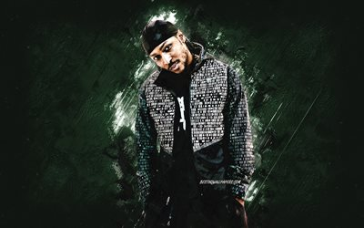 Jme, British rapper, Jamie Adenuga, British MC, portrait, green stone background, grunge art