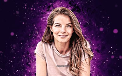 Yvonne Catterfeld, 4k, german singer, music stars, violet neon lights, german celebrity, superstars, Yvonne Catterfeld 4K