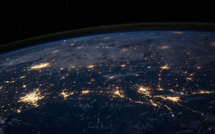 Earth from space, night on Earth, city lights, Earth view from space, atmosphere