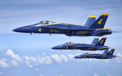 Blue Angels, squadron, United States Navy, aerobatic team, Boeing FA-18 Hornet, F-18, American fighters, USA, blue angels aircraft, US Navy