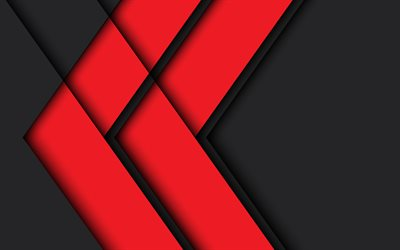 red arrows, 4k, material design, geometric shapes, lollipop, red lines, geometry, creative, arrows, black backgrounds, abstract art