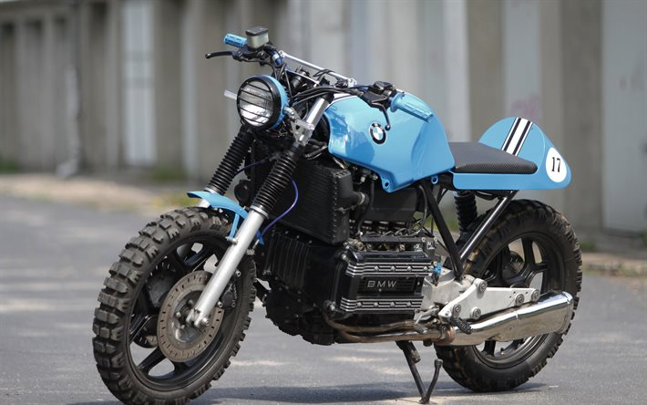 BMW K100RS, 2020, side view, exterior, new blue K100RS, sportbikes, german motorcycles, tuning K100, BMW