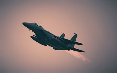 McDonnell Douglas F-15 Eagle, sunset, American Army, US Navy, McDonnell Douglas, fighter, combat aircraft, US Army
