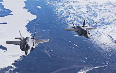 Lockheed Martin F-35 Lightning II, 4k, American Army, Lockheed Martin, two fighters, Flying F-35, combat aircraft, US Army, F-35, fighters