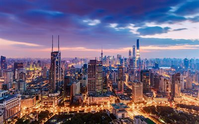 Shanghai, evening, sunset, metropolis, modern city, cityscape, Shanghai cityscape, skyline, China