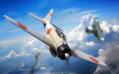 Mitsubishi A6M Zero, japanese carrier-based fighter, A6M2 Zero, World War II, Imperial Japanese Navy Air Service, military aircraft, Japan
