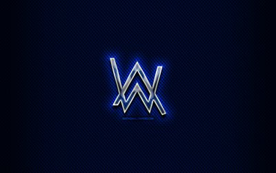 Alan Walker glass logo, superstars, blue background, artwork, Alan Walker, music stars, creative, Alan Walker logo