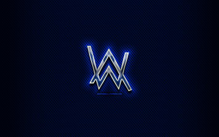 Download Wallpapers Alan Walker Glass Logo Superstars Blue