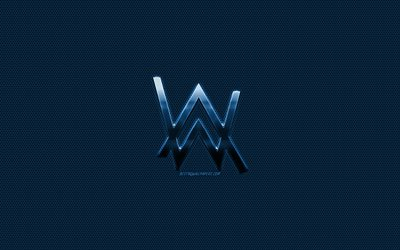 Alan Walker logo, blue metal logo, blue metal mesh, creative art, Alan Walker, emblem, brands
