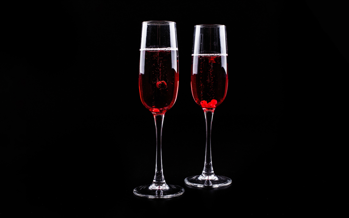 wine glasses on a black background, red wine, wine glasses, wine concepts